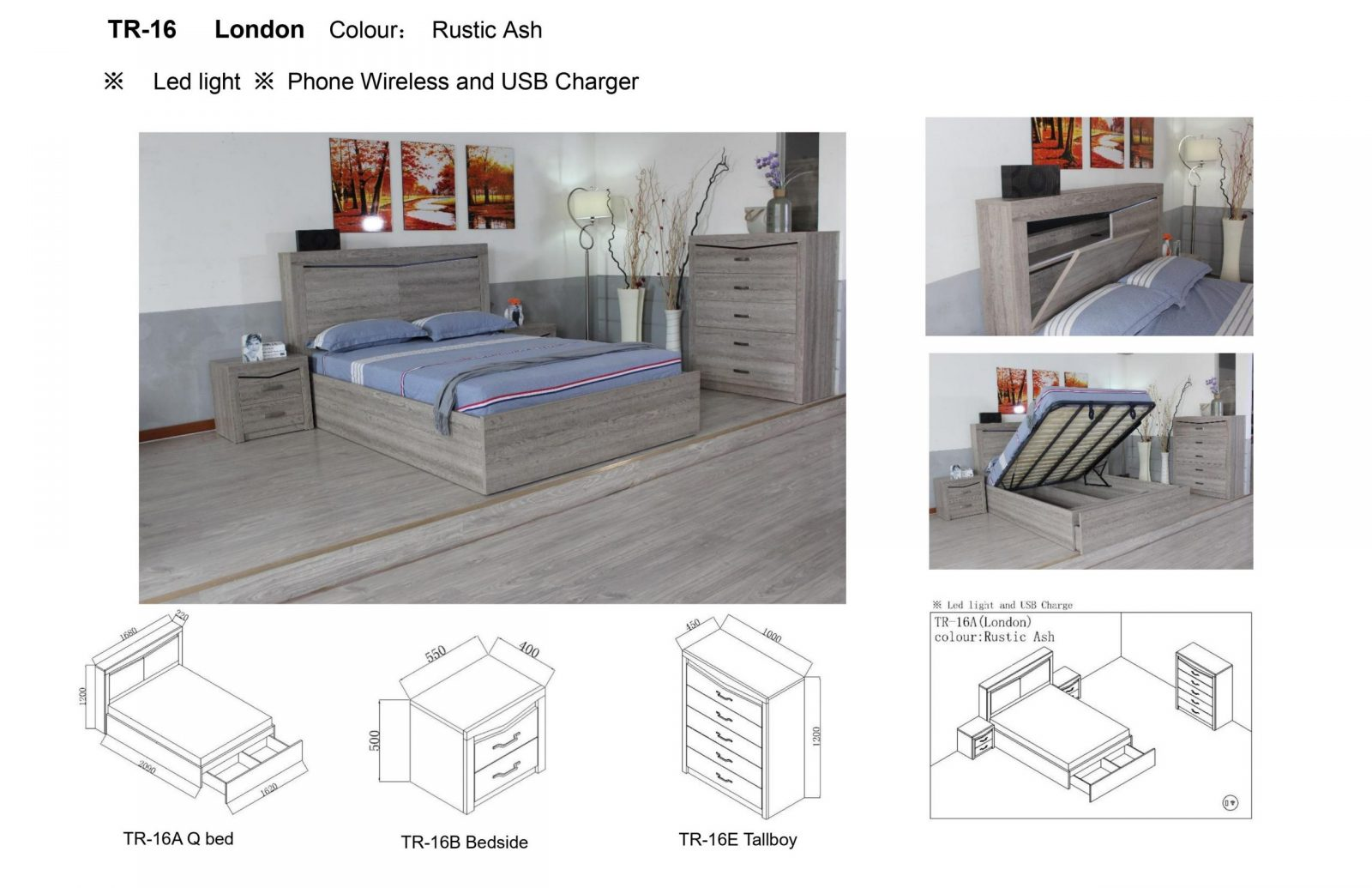 London Gas Lift Storage Bed Frame