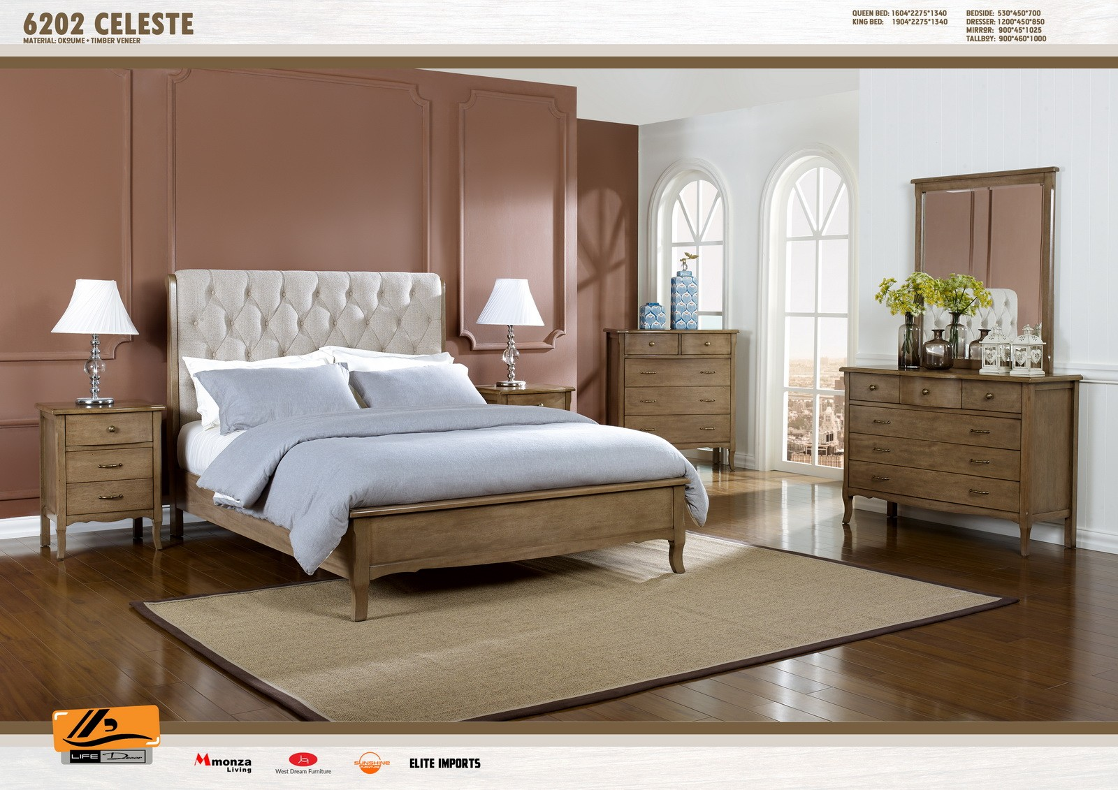 Celeste 4 Piece Bedroom Suite