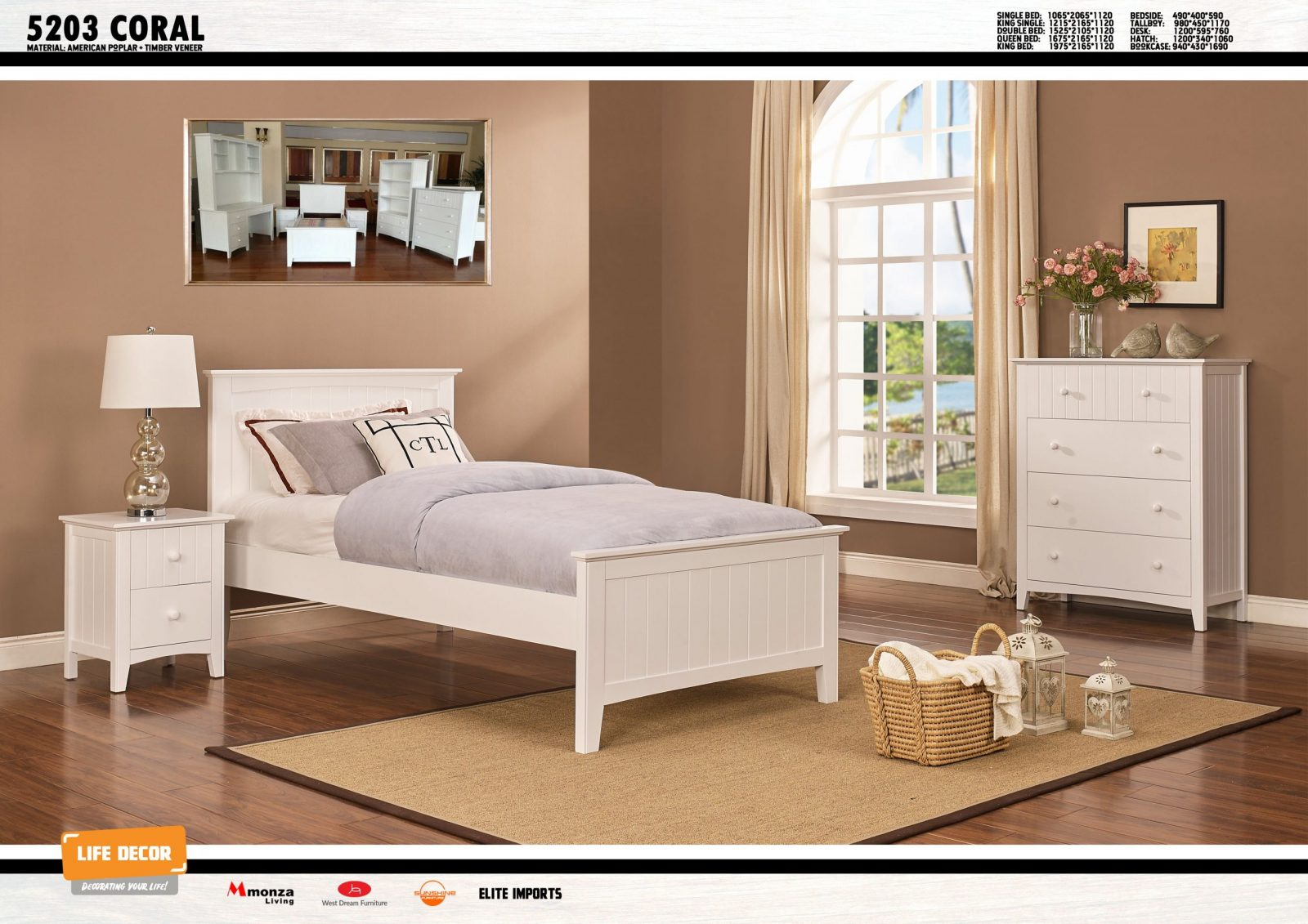 Coral Timber Bed Frame